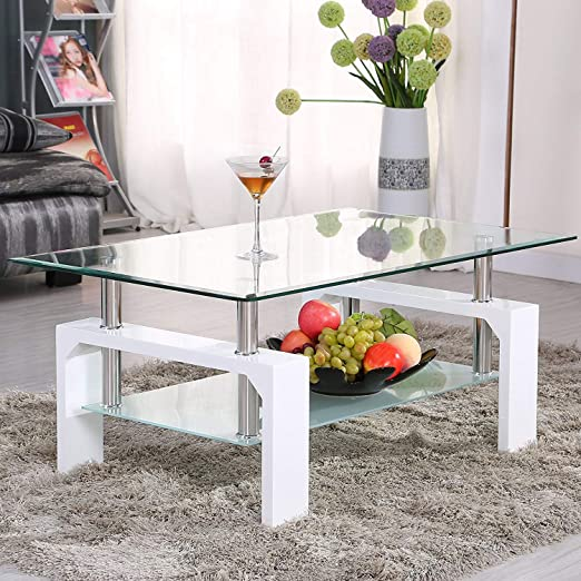 Amazon Com Mecor Rectangle Glass Coffee Table White Modern Side