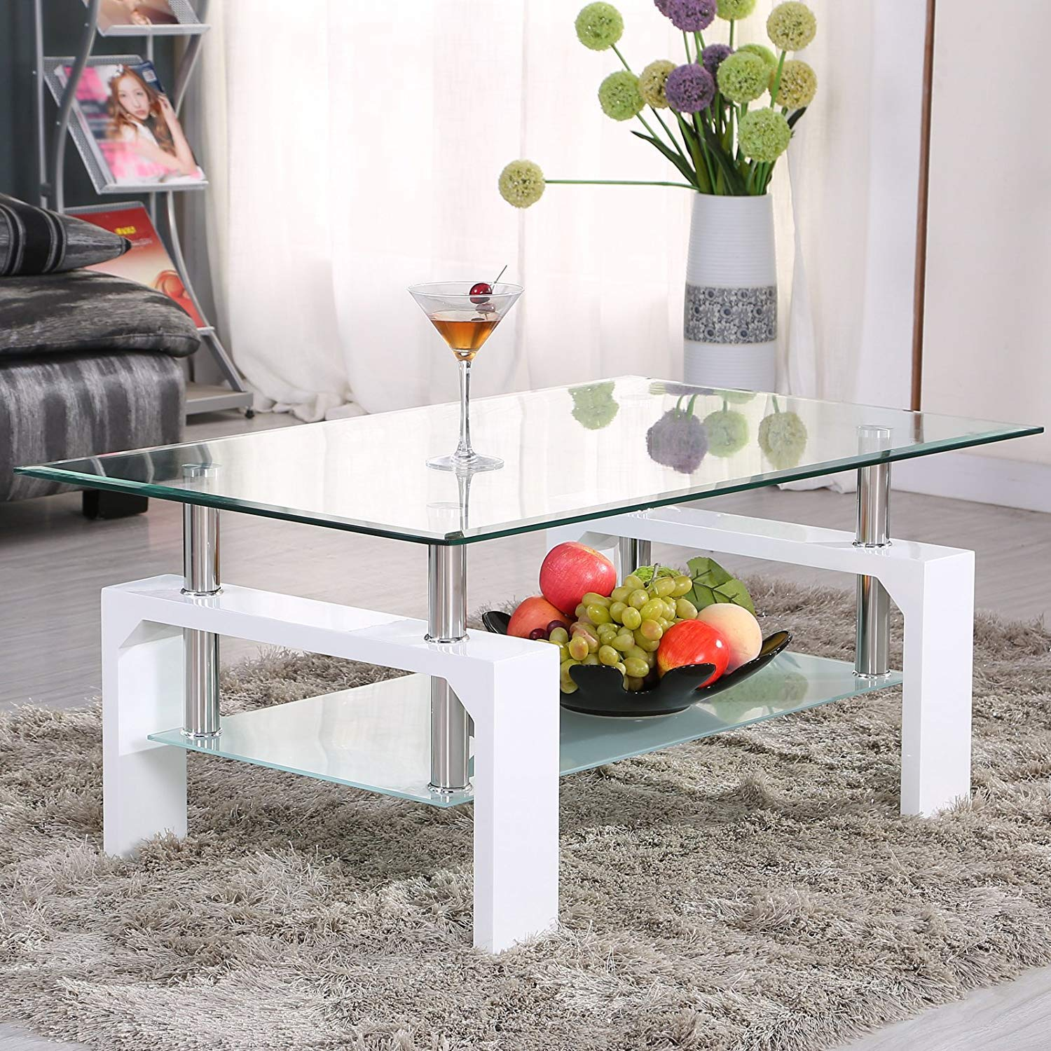 Mecor Rectangle Glass Coffee Table-White Modern Side Coffee Table with Lower Shelf Wooden Legs-Suit for Living Room by Mecor