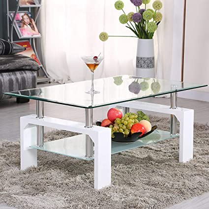 Beau Mecor Rectangle Glass Coffee Table White Modern Side Coffee Table With  Lower Shelf Wooden Legs