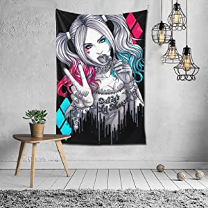 Harley Quinn Tapestry Wall Hanging Tapestry Home Decor Tapestries Wall Art for Living Room Bedroom 60x40 Inches