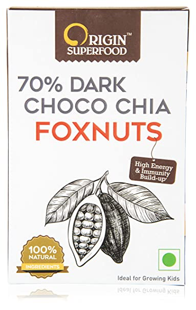 Origin Superfood Crunchy 70 Dark Choco Chia Foxnuts Makhana Roasted