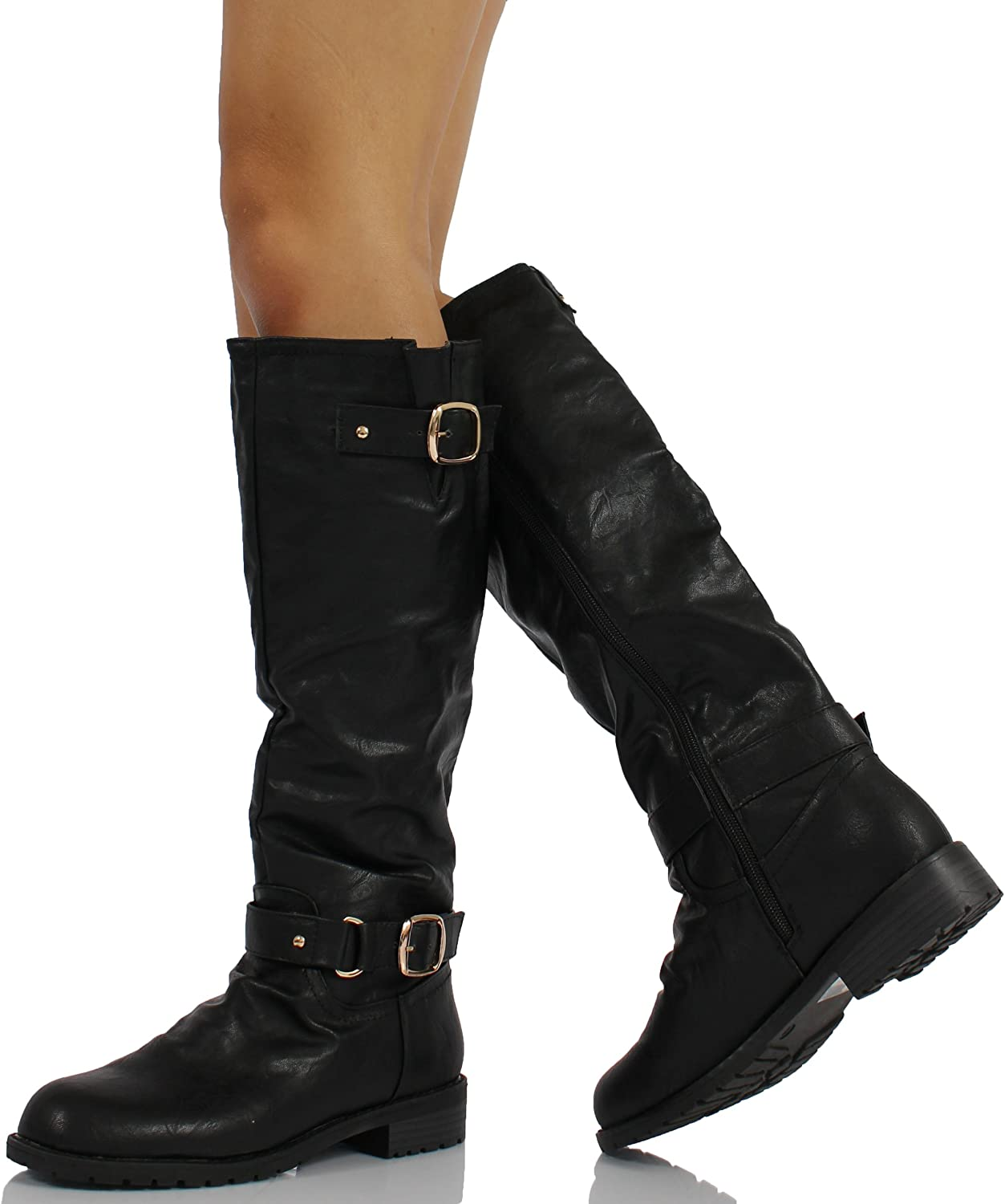 MFS Black Faux Leather Double Buckle Knee High Riding Low Heel Boot Travis-01 6