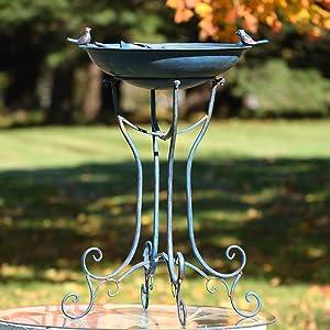 Zaer Ltd. Deep Well Made Metal Birdbath with 2 Cast Iron Birds and Leaf Decoration (Frosted Blue)