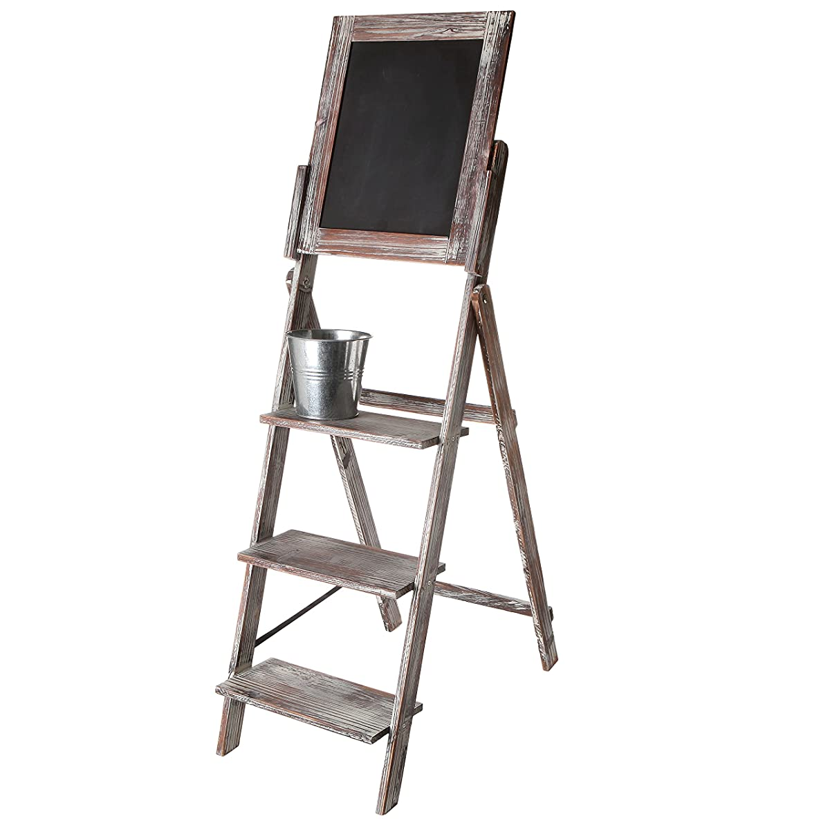 MyGift Decorative Torched Wood Easel Style Chalkboard Stand with 3 Tier Display Shelves