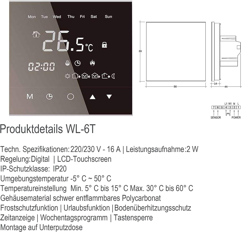 200 Watt Komplett-Set Elektrische Fu/ßbodenheizung mit TWIN-Technologie Thermostat:RTC70.26 Gr/ö/ße:4 m/²