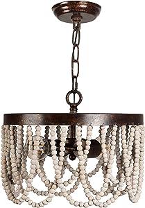2-Light Wooden Bead Chandelier Lighting, Bohemia Wood Ceiling Pendant Light for Home Decor. (Rustic)