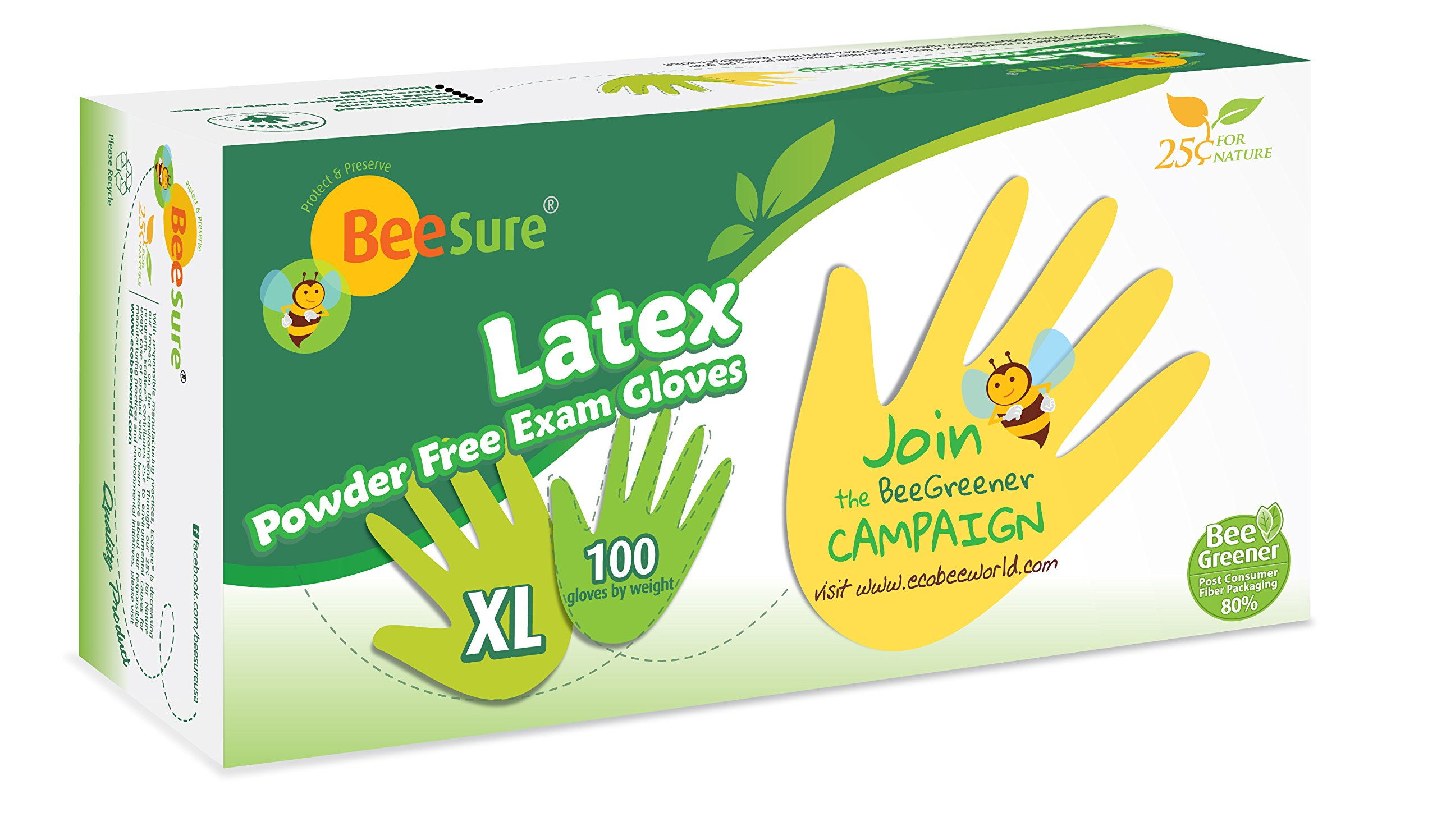 BeeSure BE2819case Powder Free Exam Gloves, Latex, Beaded-Cuff, XL, Yellow (Pack of 1000) by BeeSure