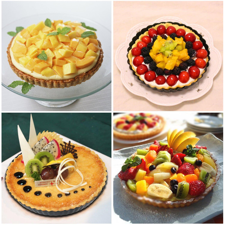 moule /à quiche rond /à base de quiche amovible moule /à tarte tarte /à fond amovible Bystep Paquet de 2 plats antiadh/ésifs de 8,8 po /à quiche de