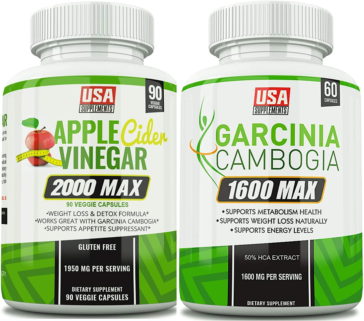Apple Cider Vinegar Capsules & Garcinia Cambogia (One Bottle of Each)