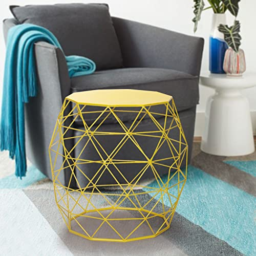 Homebeez Wire Round Iron Metal Stool Side Coffee Sofa Table Hatched Diamond Pattern HBCH0108, Yellow