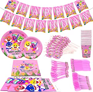 "Topivot Baby Cute Shark Party Supplies -Serves 20 Guests- Little Shark Tableware Party Decoration,Includes Table Cloth 7""Plate 9""Plates Napkins Cups Forks Knives Spoons Straws"