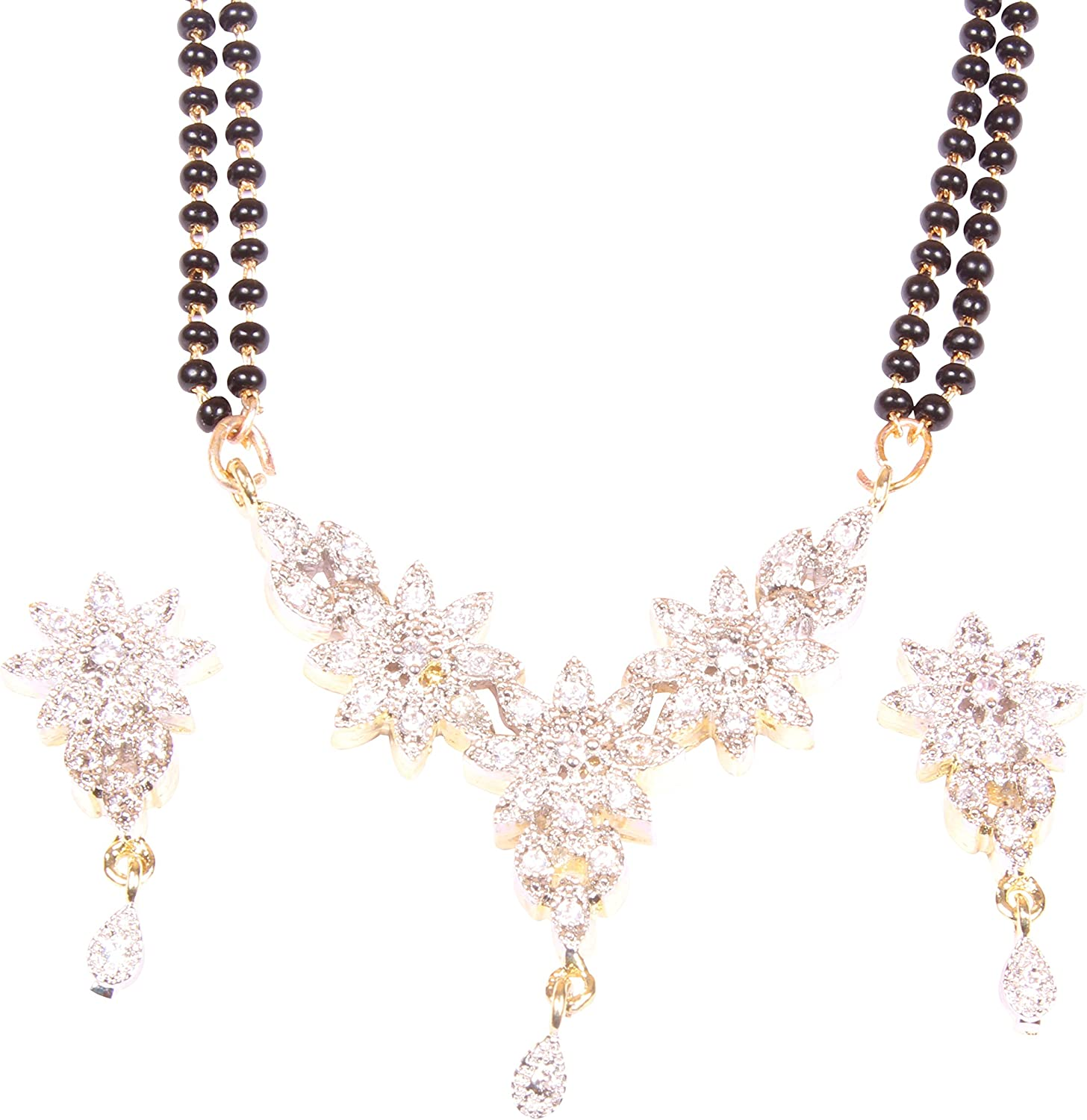 Shiv/_Collection Traditional Ethnic Fashion Gold Tone Indian Mangalsutra Set Partywear Jewelry