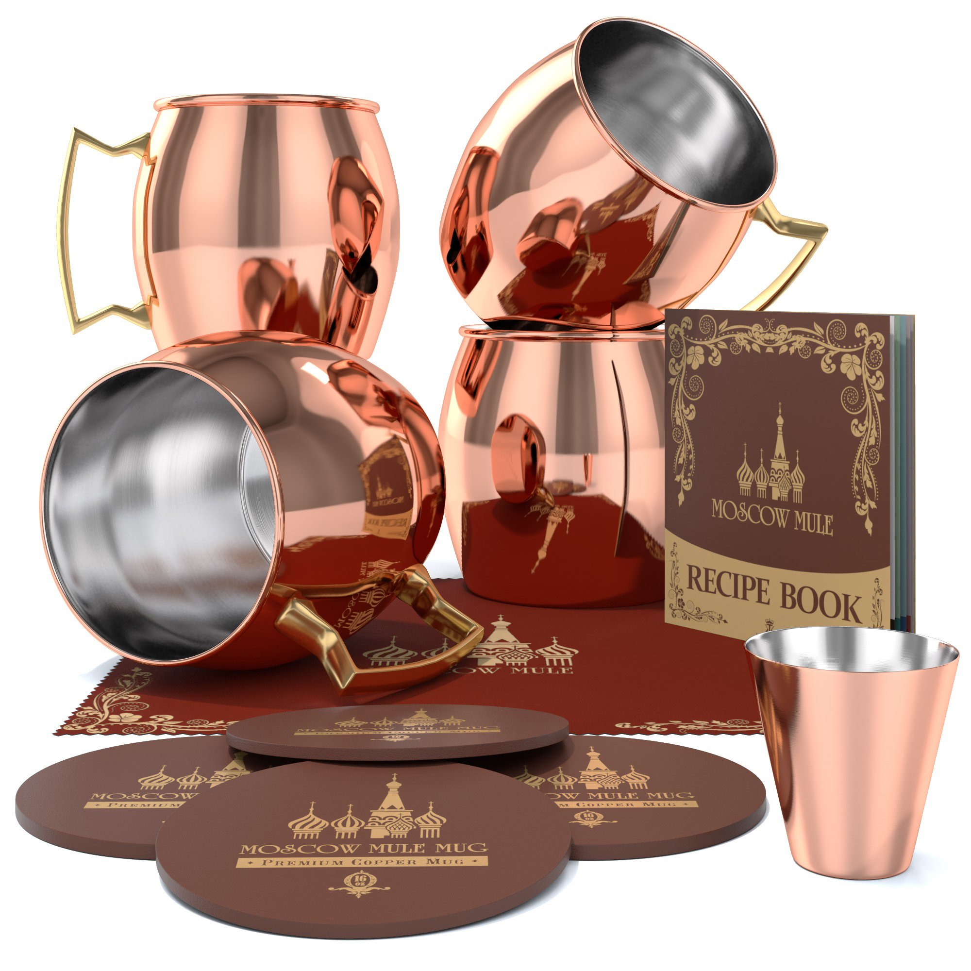 Krown Kitchen - Moscow Mule Copper Mug Set of 4   Stainless Steel Lining   16 oz by Krown Kitchen