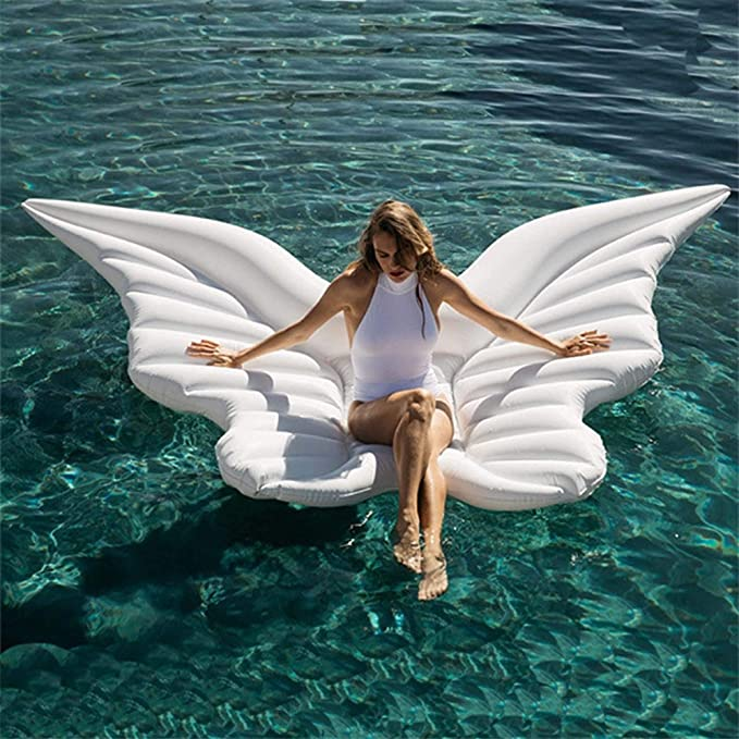 Amazon.com: Giant Inflatable Angel Wings Water Bed Floating Row Beach Fun Inflatable Pool Toys White Swimming Ring Air Mattress Sunbath Mat: Toys & Games