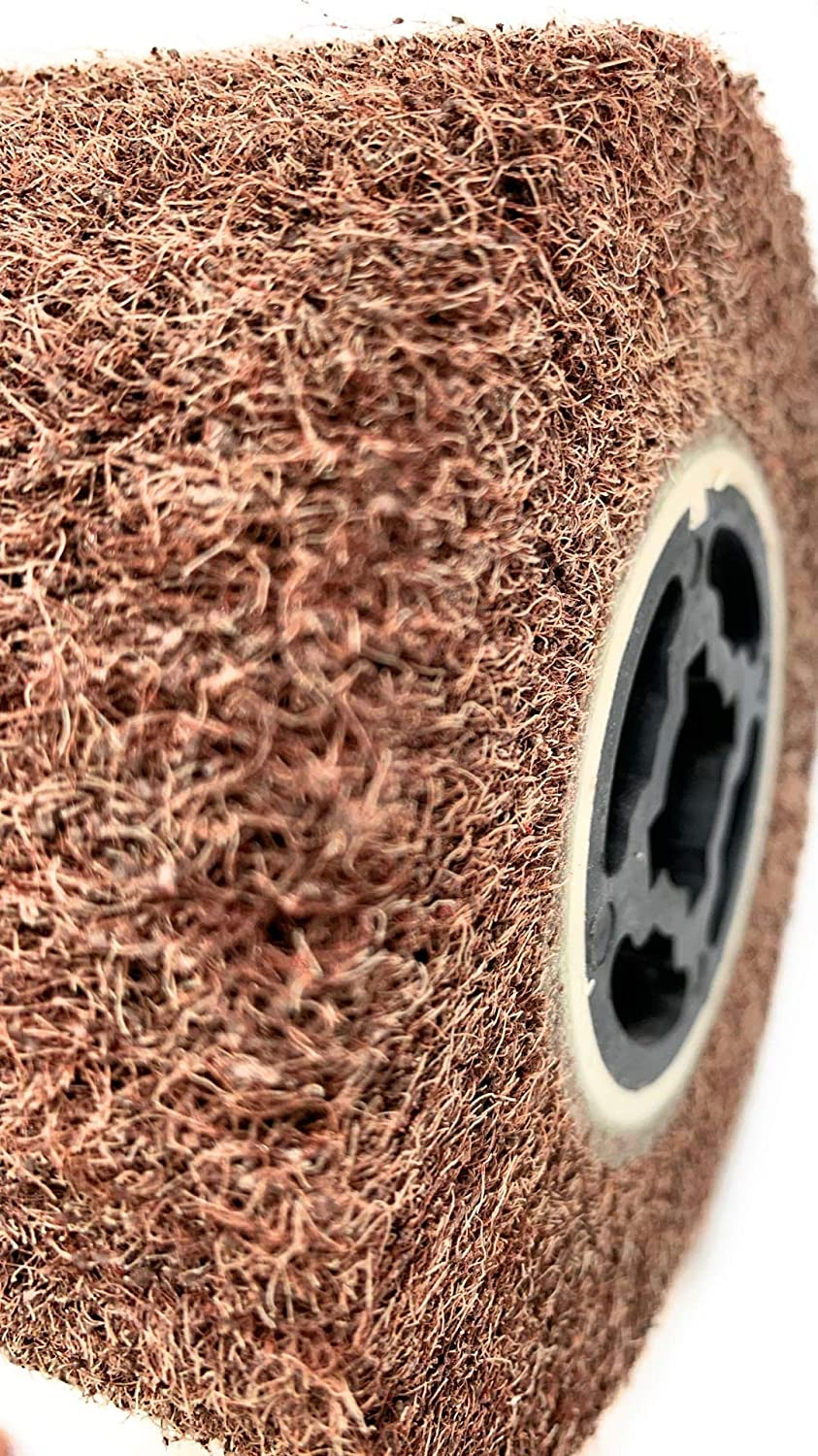 Copper,Metal 120x100x19mm Signi Non Woven Wire Abrasive Drawing Polishing Burnishing Wheel Flap Brush for Surface Treatment Stainless Steel Aluminum 80 Grit