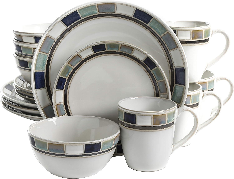 Gibson Elite Casa Blanca Round Reactive Glaze Stoneware Dinnerware Set, Service for 4 (16pcs), White/Blue