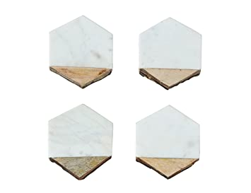 Creative Co-Op DA8956 4 Piece White Marble & Mango Wood Coaster set