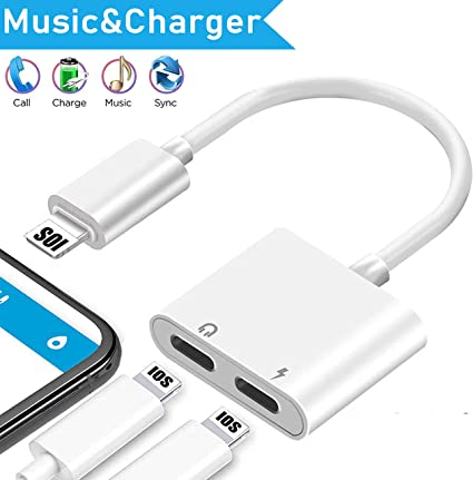 Headphone Adapter for iPhone to 3.5mm 2 in 1 Charging and Aux Audio Adapter Converter for iPhone 7 Earphone Dongle Splitter Accessory Compatible XR//Xs//X//8//8 Plus//7Plus Support All iOS System-White
