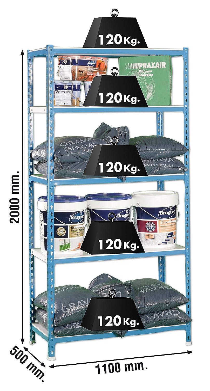 AZUL//NARANJA//GALVA 1800 x 900 x 400 mm SimonRack SI402 Kit Estanter/ía con 5 Estantes