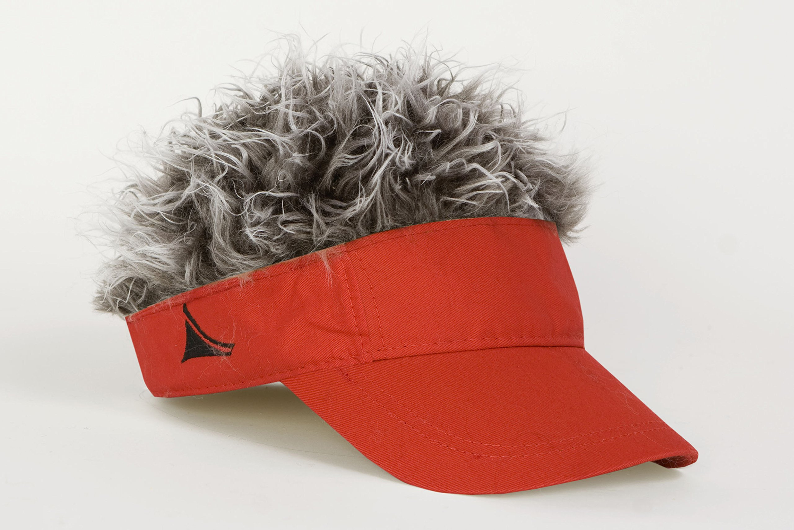 FlairHair Red Visor with Gray Hair by HairHat