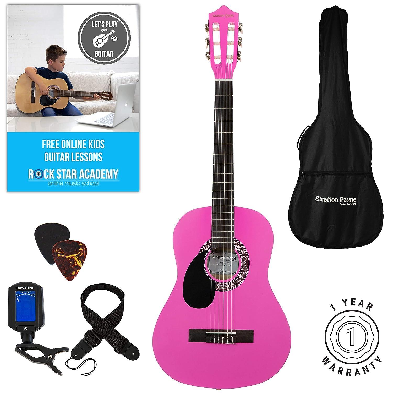 Linke Hand Akustische Gitarre Paket 3/4Größe (36'Zoll) klassischen Nylonsaiten Pack pink Stretton Payne SP34LH