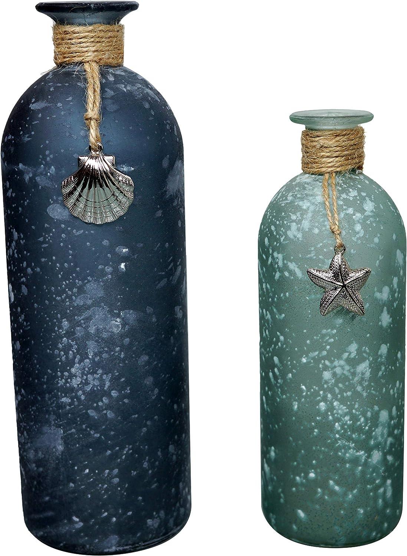 khevga Maritime - Juego de 2 jarrones de decoración, 26 y 20 cm de Alto