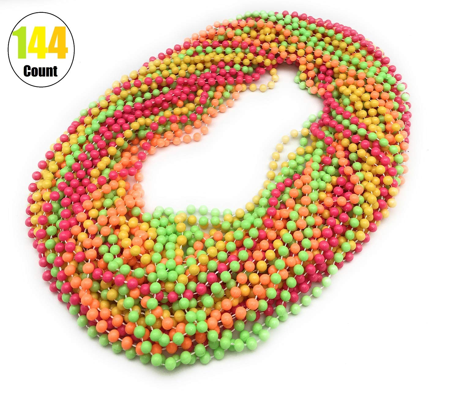 144 Pieces 33 inch 07mm Fluorescent Beads Color Mardi Gras Beads Beaded Necklace Ideal for New Years Eve, Anniversary Party, Party Favors, and Table Centerpiece Decorations by Oojami