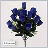 18 head Royal Blue rose buds bush/bunch modern colour ideal for weddings by HEAD