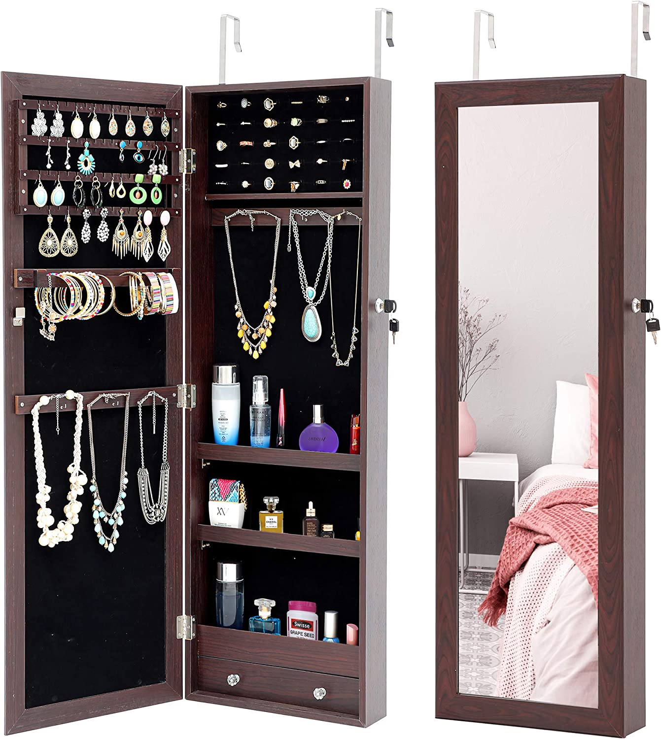Room Decor Large Size Multifunctional Mirrored Jewelry Cabinet Full Screen Display Jewelry Armoire, 47.3