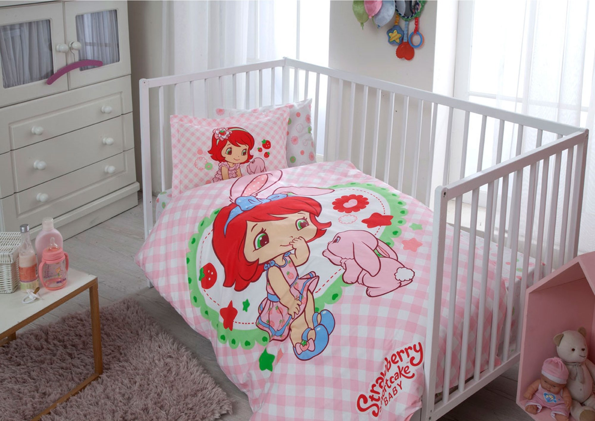 100% Organic Cotton Soft and Healthy Baby Crib Bed Duvet Cover Set 4 Pieces, Strawberry Shortcake Bunny Baby Bedding Set