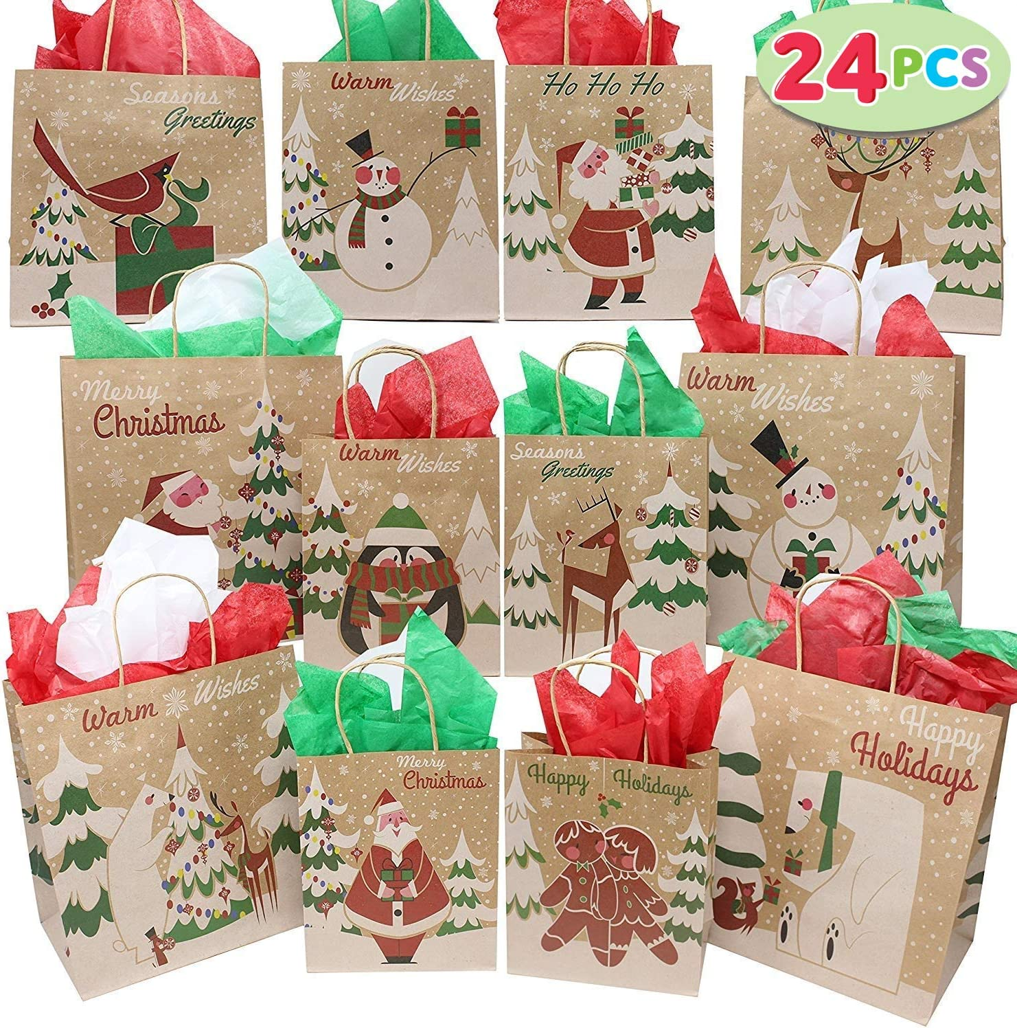 24pcs Christmas Kraft Goody Gift Paper Bags Small Holiday Gift Wrapping Bags with Assorted Christmas Prints for Xmas Party Favors Small Gifts Present Party Supplies Classrooms Decorations Gift-Giving