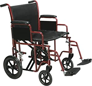 Drive Medical Bariatric Heavy Duty Transport Wheelchair with Swing-Away Footrest, Red, 22 Inch