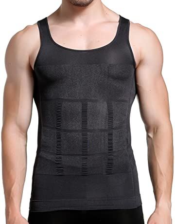e38a9a2f0 GKVK Mens Slimming Body Shaper Vest Shirt Abs Abdomen Slim