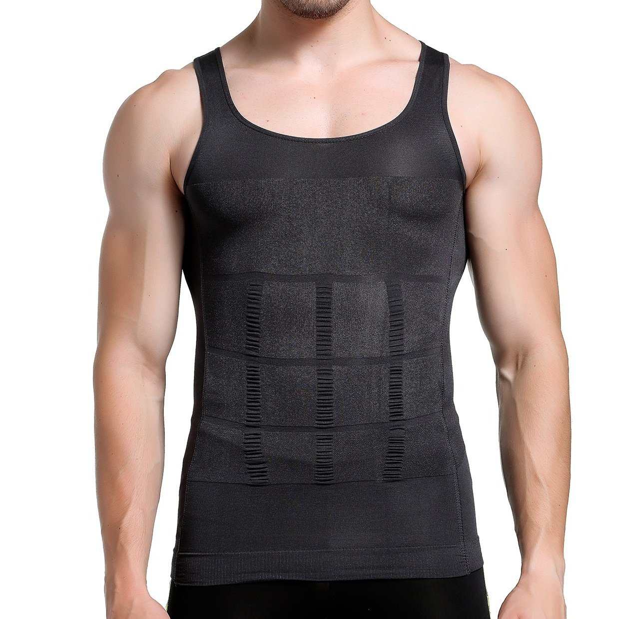 GKVK Mens Slimming Body Shaper Vest Shirt Abs Abdomen Slim,S(chest size76cm-81cm/30inches-32inches),Gray