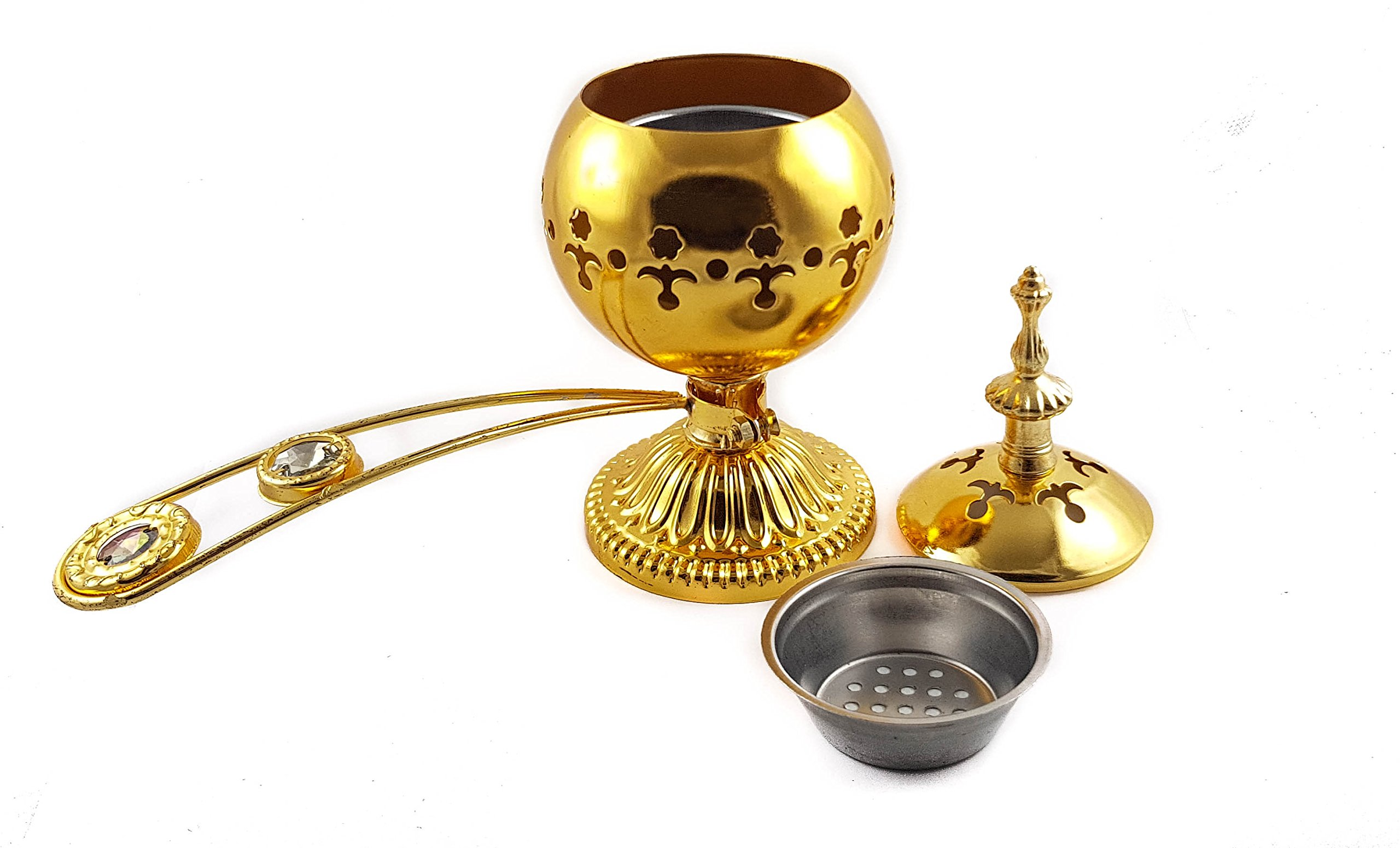 Nazareth Store Gold Copper Charcoal Incense Burner with Handle Censer Brass Plated Distiller for Church & Home Use by Nazareth Store