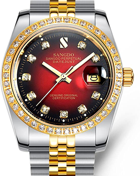 1bfd815a76b Men Automatic Red Face Waterproof Sapphire Diamonds Srystal Stainless Steel  Band Date Watch 40MM