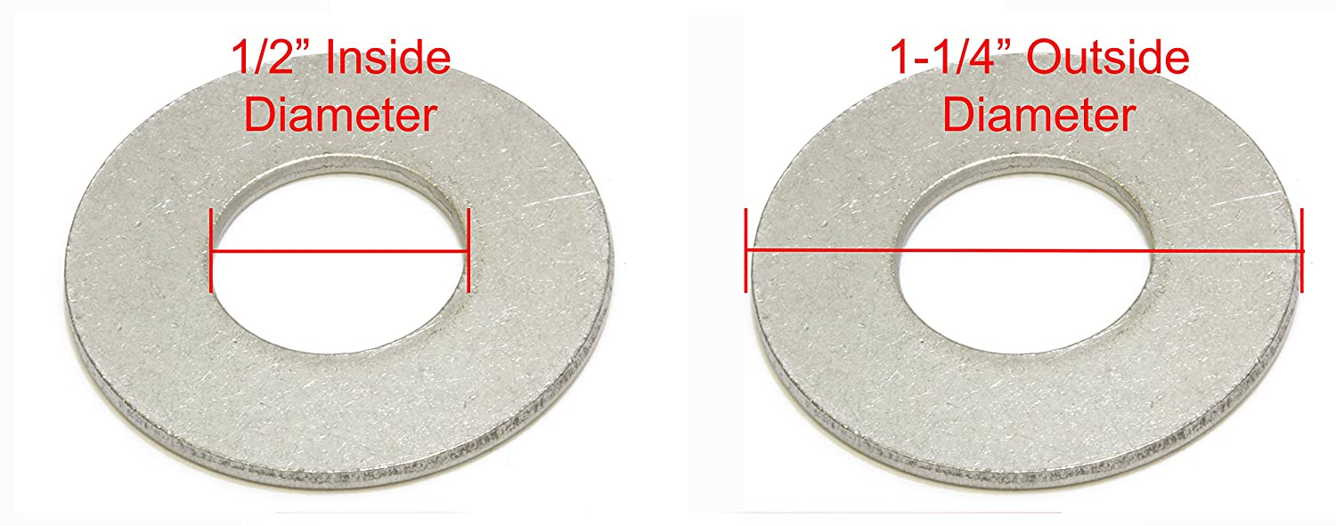 1-1//4 Outside Diameter by Bolt Dropper 1//2 Stainless Flat Washer 304 100 Pack 18-8 Stainless Steel - Choose Size