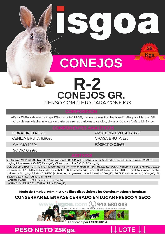 Pienso Conejos CASEROS Granulado Saco 25 Kg Isgoa