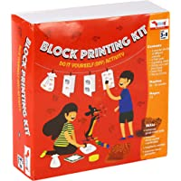 CocoMoco Kids Block Printing DIY Kit, Activity Kit for Kids with Wooden Stamps, Return Gift for 3-5 Years, 7-8 Years (Multicolor)