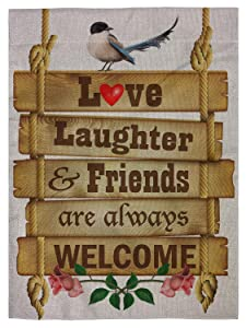 """pingpi Love Laughter and Friends are Always Welcome Garden Flag Vertical Double Sided Spring Summer Yard Outdoor Decorative 12.5""""x18"""""""