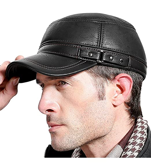 Sumolux Men Leather Cap with Earflap Military Cadet Army style Hats Flat  Top Hat Adjustable for f281e192de12
