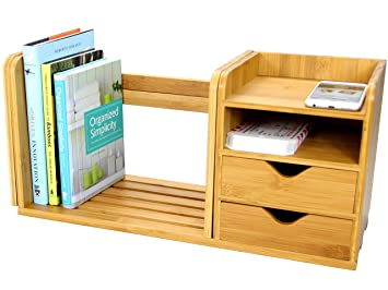 desktop expandable adjustable bookshelf with drawers made of