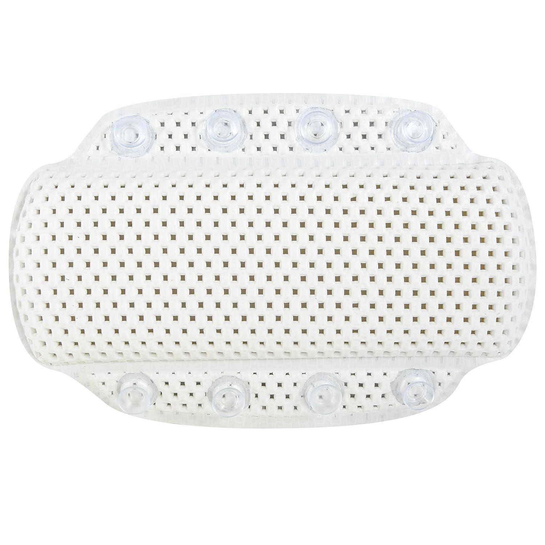 MSV Badewannenkissen mit 8 Saugnäpfen Nackenkissen Nackenpolster aus weichem PVC Schaum Weiß 20 x 31 cm waschbar