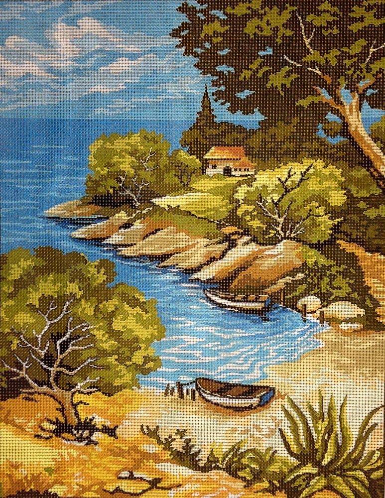 Hudemas Needlepoint Kit Sea Landscape 9x11.8 23x30cm Printed Canvas cod.126