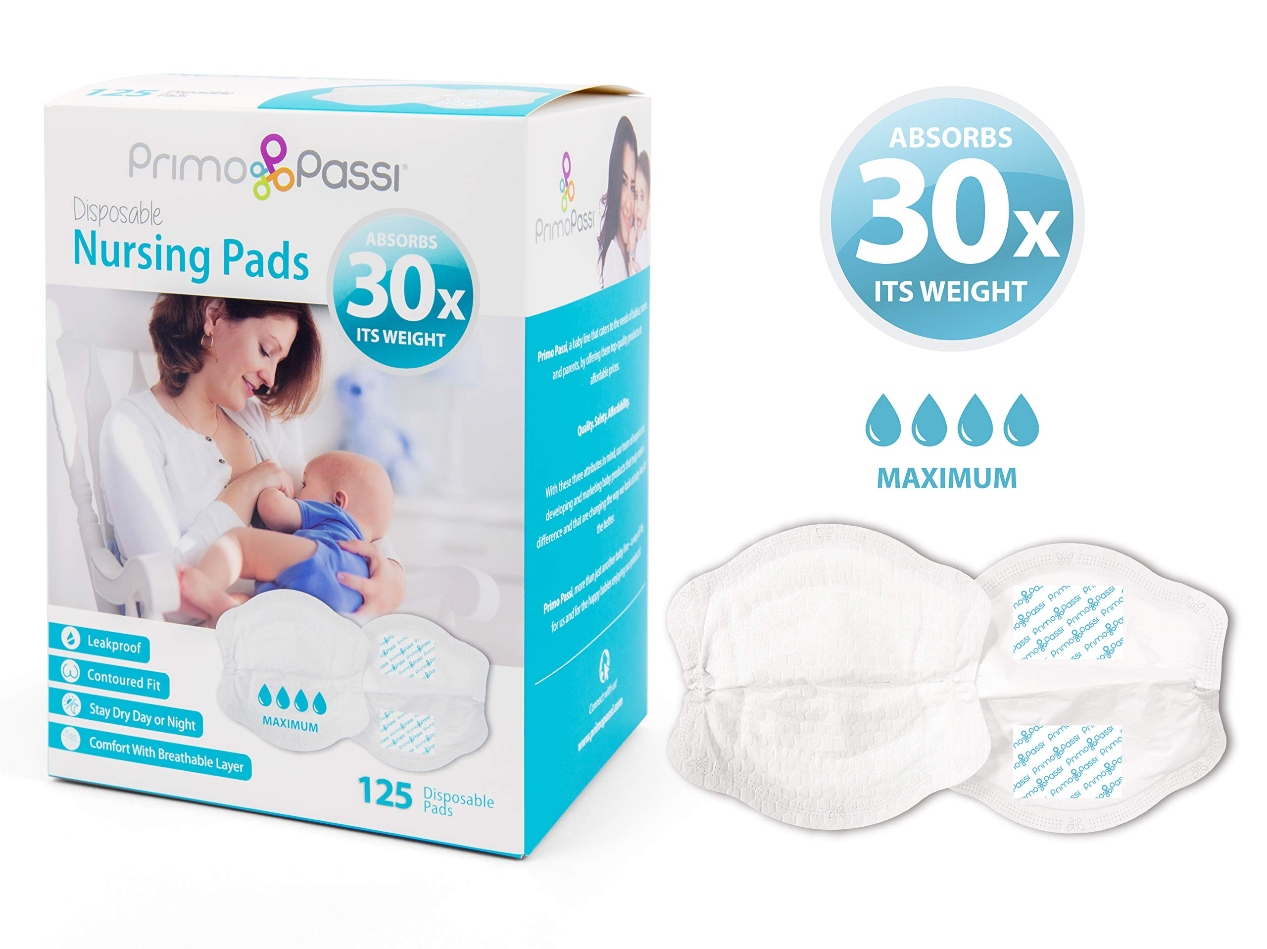 Primo Passi Disposable Nursing Pads for Women I Breast Pads Ultra Thin I 125 Count I Individually Wrapped I Leakproof I Contoured Fit I Natural Shape and Look I Soft & Breathable Material by Primo Passi