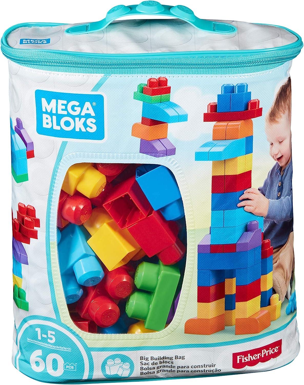 Mega-DCH55 Juego de construcción de 60 piezas, bolsa ecológica clásica, juguetes bebe 1 año, multicolor, 32.5 x 28.2 x 16.8 (Mattel DCH55)