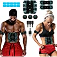 SPORTLIMIT Abs Stimulator, USB Rechargeable Portable Fitness Workout Equipment with 10pcs Free Gel Pads for Men Woman, The La