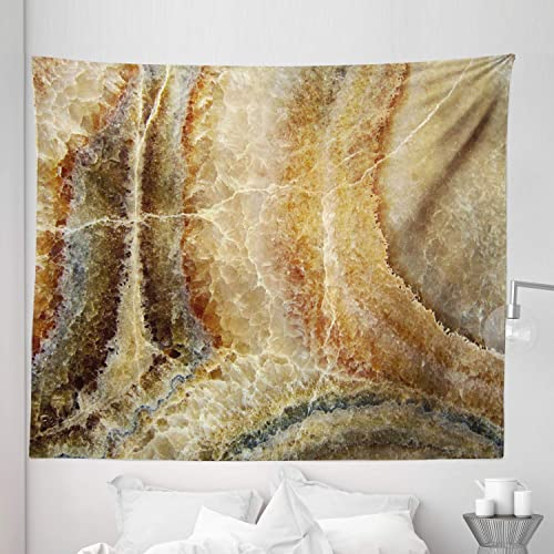 Lunarable Marble Tapestry King Size, Onyx Stone Surface Pattern Banded Variety Differing Lines Image Print, Wall Hanging Bedspread Bed Cover Wall Decor, 104 X 88 , Sand Brown Cinnamon