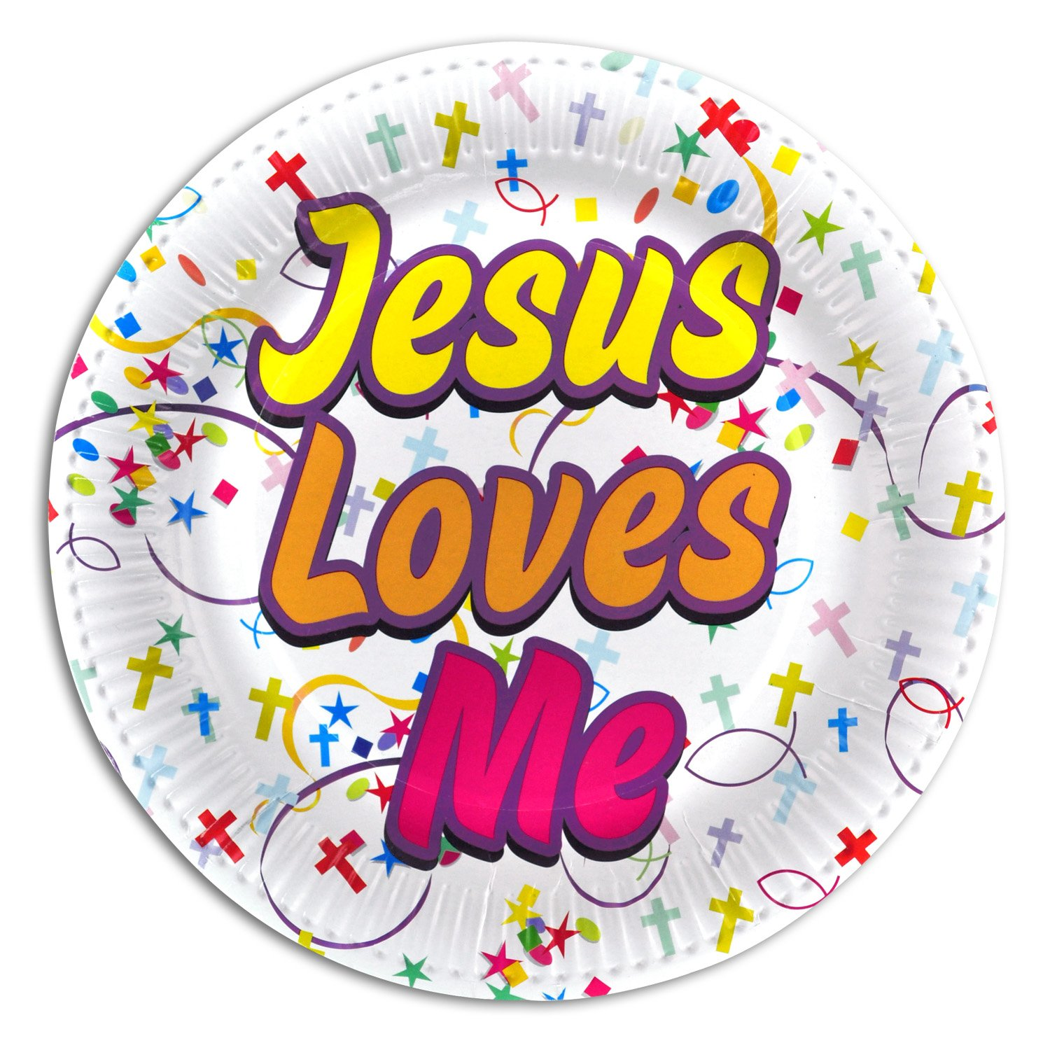 Kipp Brothers Jesus Loves Me Paper Party Plates for Christian Events - 12 Pack