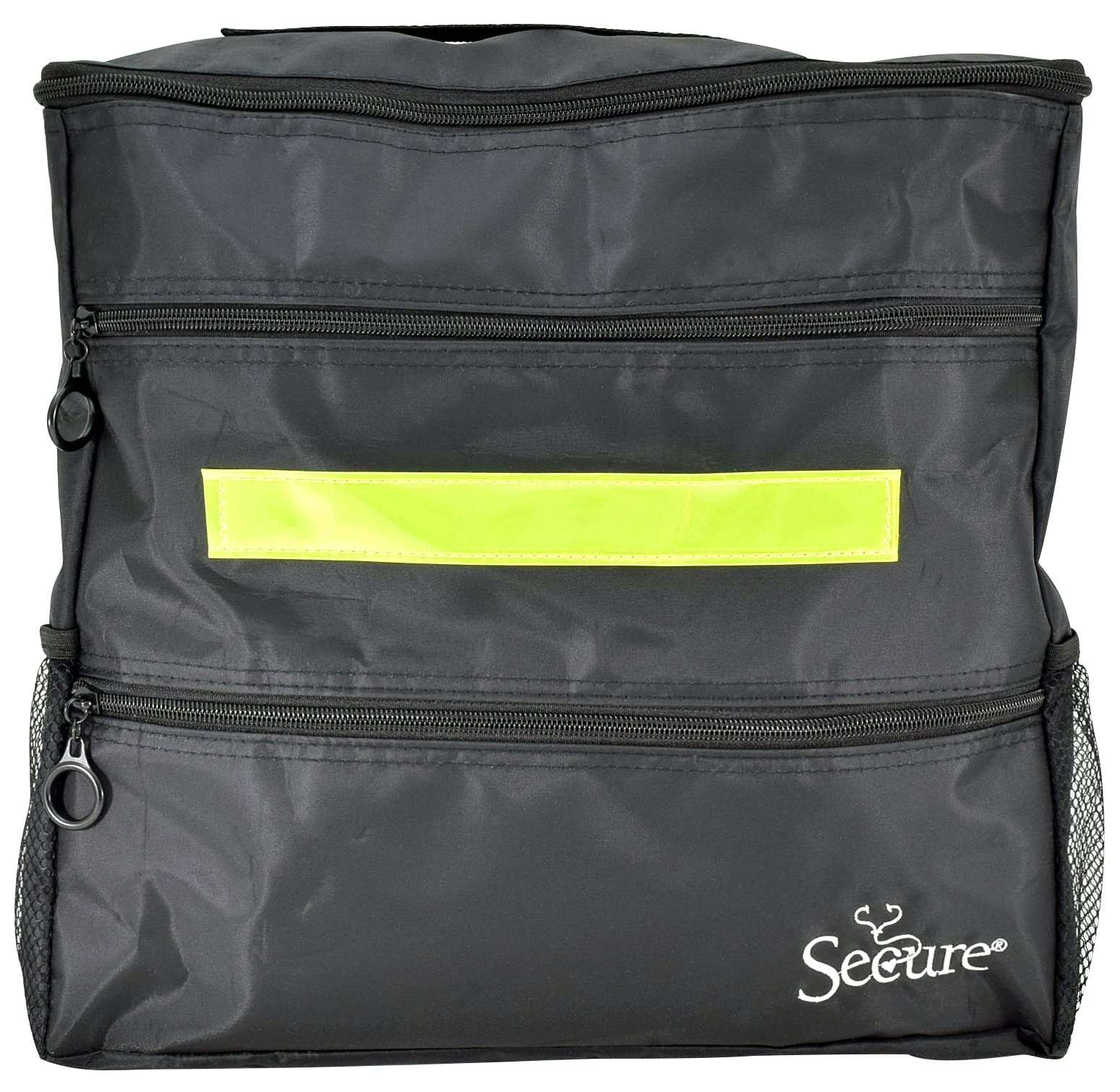 Secure WBP-1B Wheelchair Backpack Storage Bag With Top, Front, Side Pockets and Safety Reflector, Black (13'' x 12.5 ''x 3'')